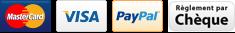 Paiement sécurisé CB, Visa, Mastercard, Paypal, chèque